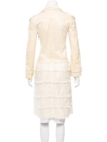 Tweed-Trimmed Lambskin Coat