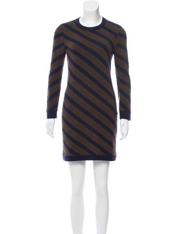 Chanel Striped Cashmere Sweaterdress None