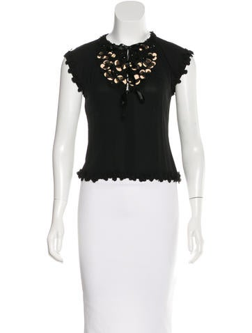 Chanel Embellished Silk Top None