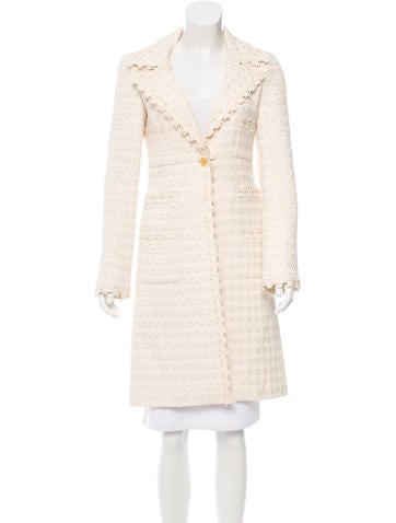 Chanel Fringe-Trimmed Houndstooth Coat None