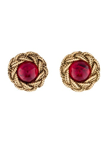 Chanel Textured Clip On Earrings