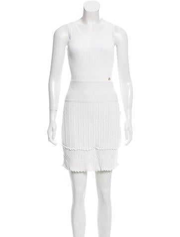 Chanel Rib Knit Pattern-Accented Dress None