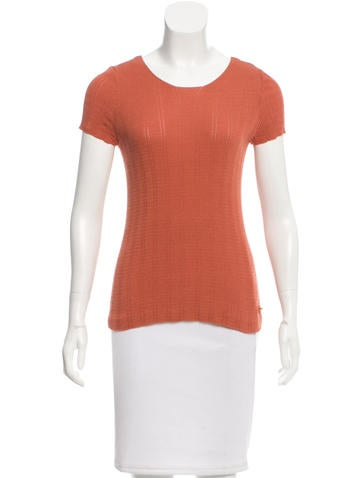 Chanel Stretch Knit Short Sleeve Top None