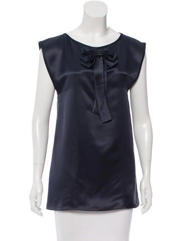 Chanel Silk Bow Top None