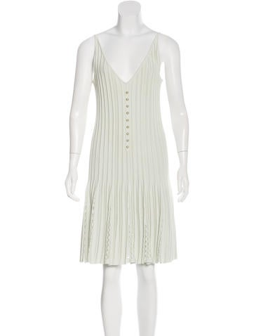 Chanel Pleated Sleeveless Dress None