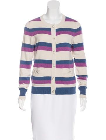 Chanel Striped Cashmere Cardigan None