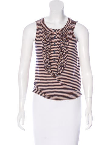 Chanel Striped Sleeveless Top None