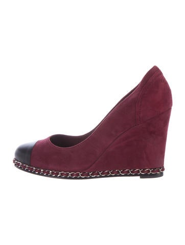 Chanel Suede Chain-Link Wedges None