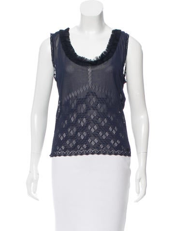 Chanel Sleeveless Ruffled Knit Top None