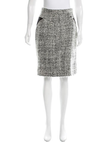 Chanel Leather-Accented Mohair Skirt