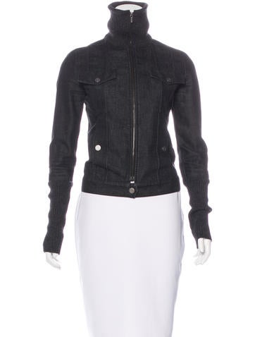 Chanel Rib Knit-Trimmed Denim Jacket None