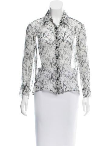 Chanel Logo Print Silk Top None