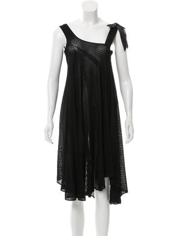 Chanel Plissé Satin-Accented Dress w/ Tags None