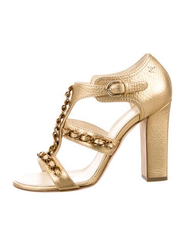 Chanel Metallic Chain-Link Sandals