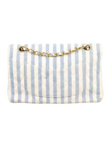 Medium Striped Double Flap Bag