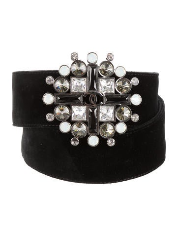 Chanel Black Velvet & Gripoix Belt A9i33nl
