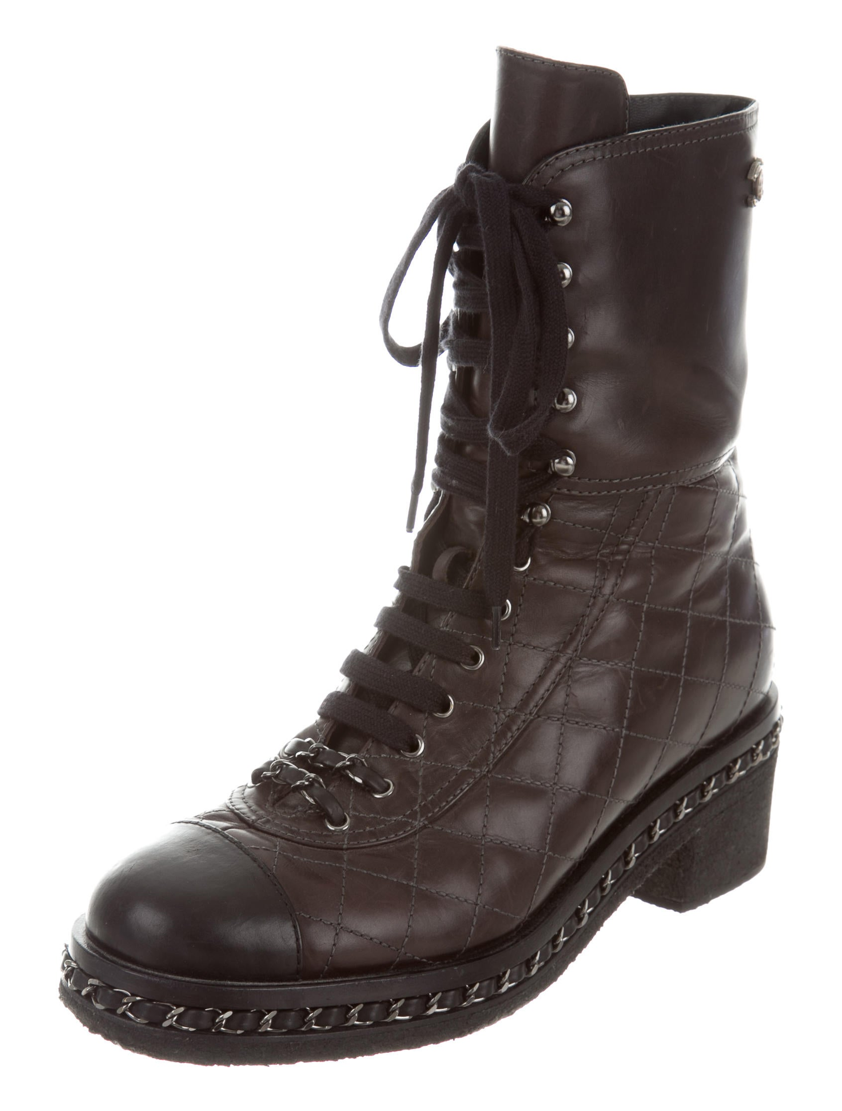 Chanel Quilted Combat Boots Shoes Cha155192 The Realreal