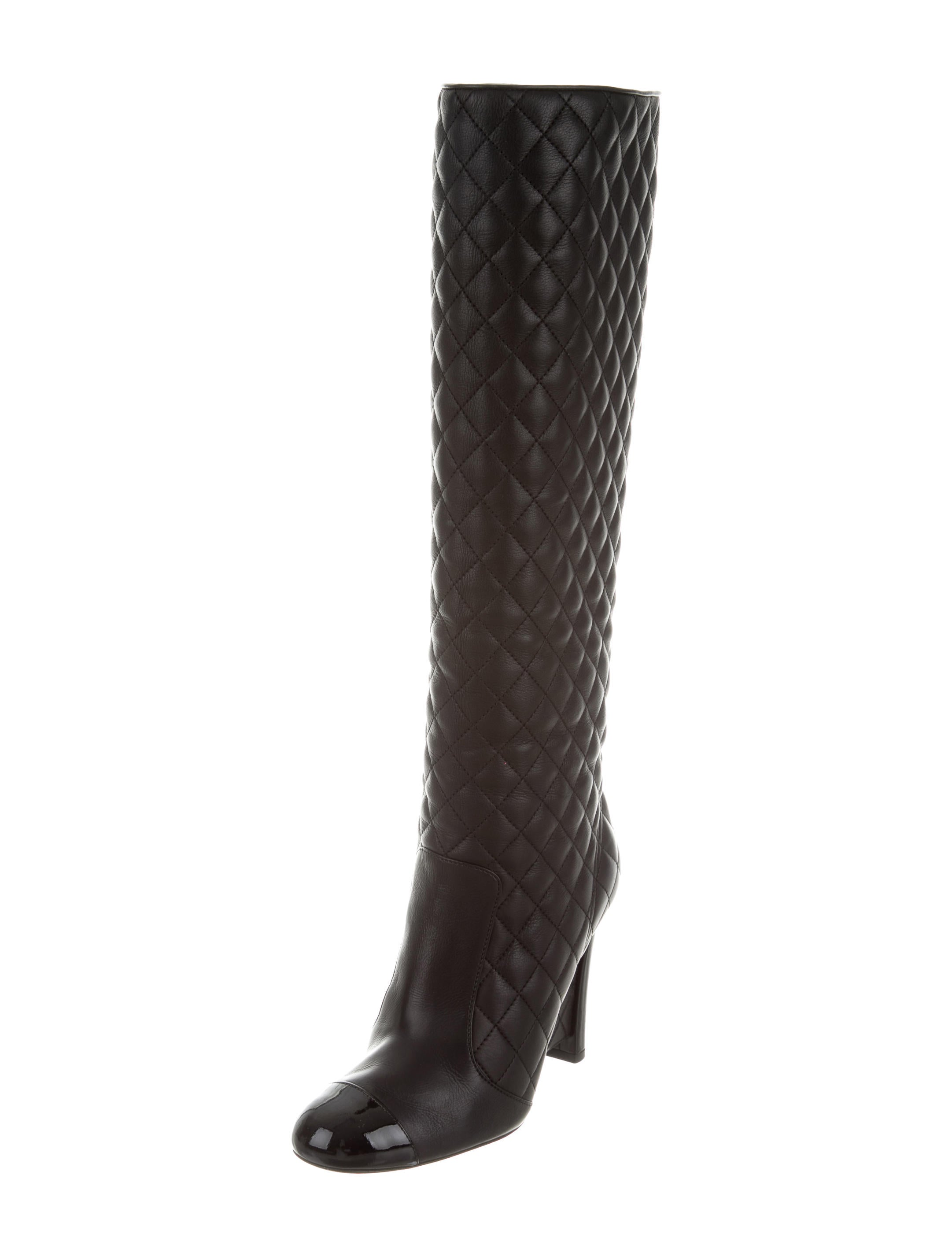 chanel quilted cap toe wedge boots shoes cha155239