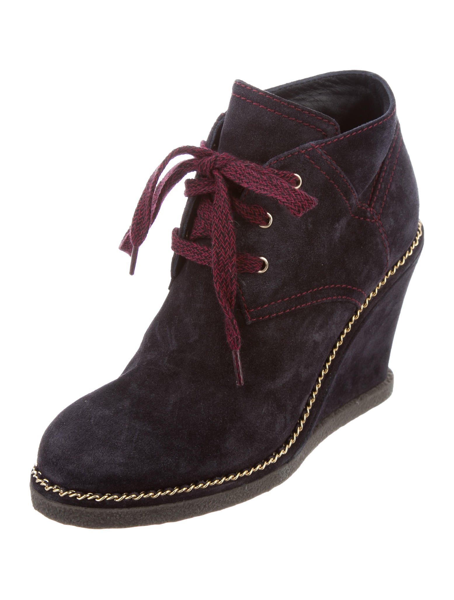 Chanel Suede Wedge Booties Shoes Cha155337 The Realreal
