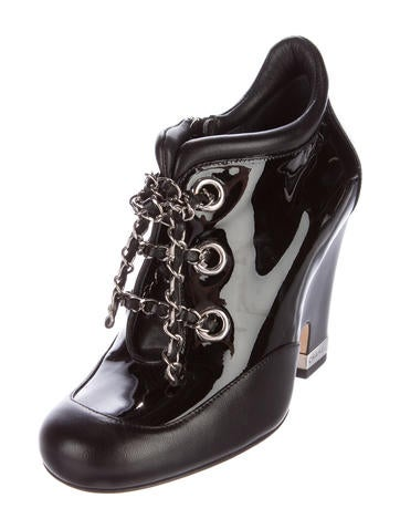 Patent Leather Chain-Link Booties