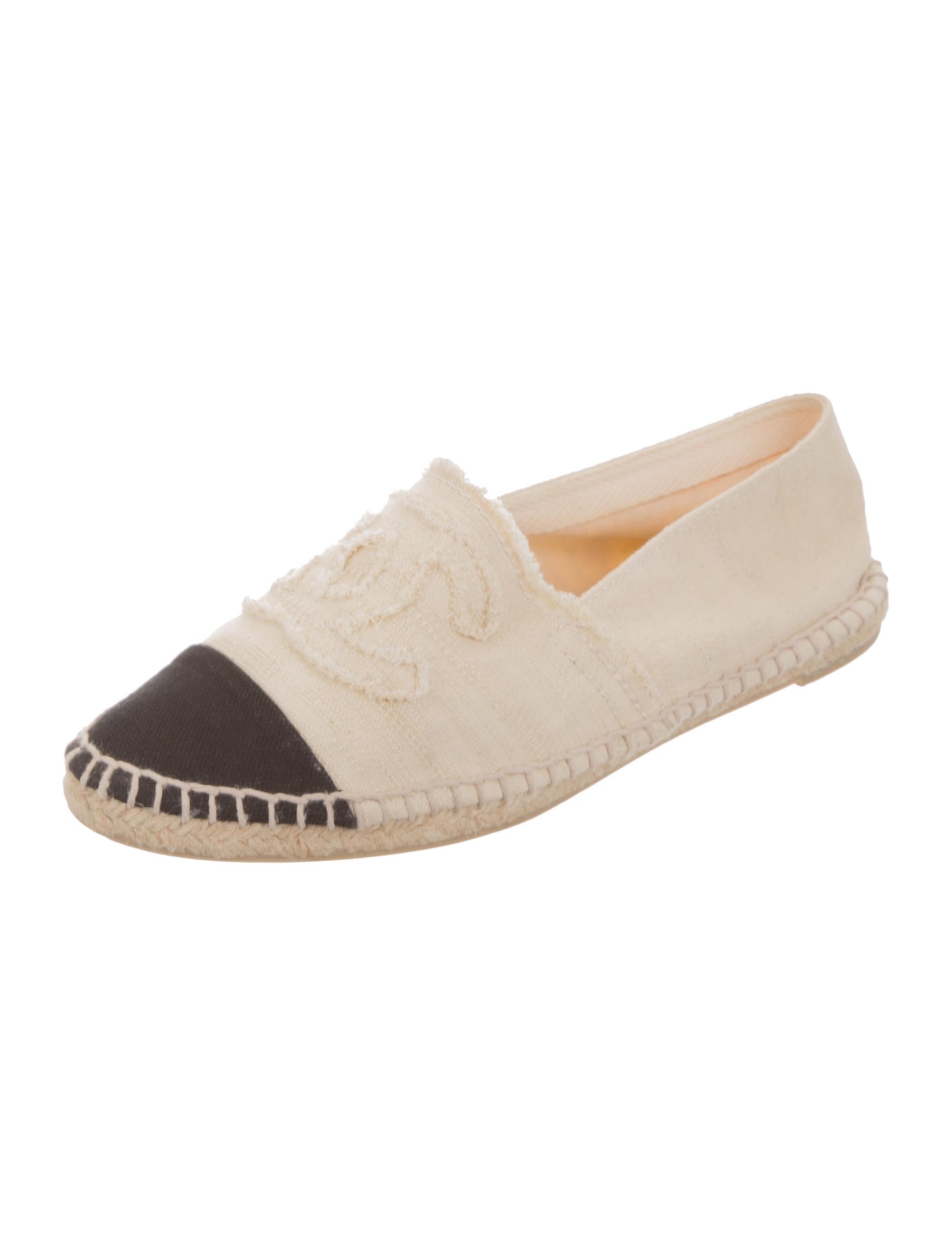 chanel canvas espadrille flats shoes cha155974 the