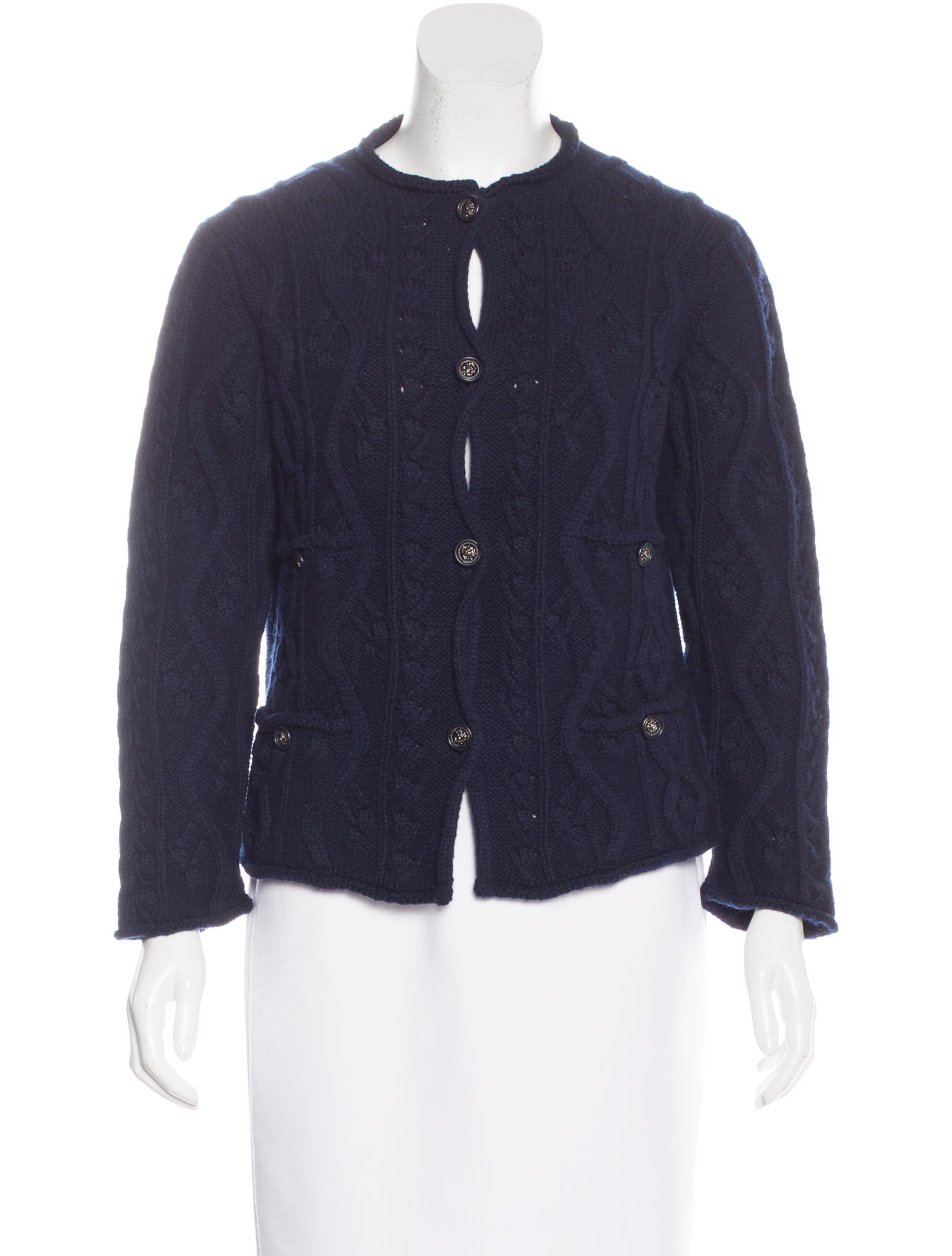 Chanel Cashmere Cable Knit Cardigan - Clothing - CHA156128 The RealReal