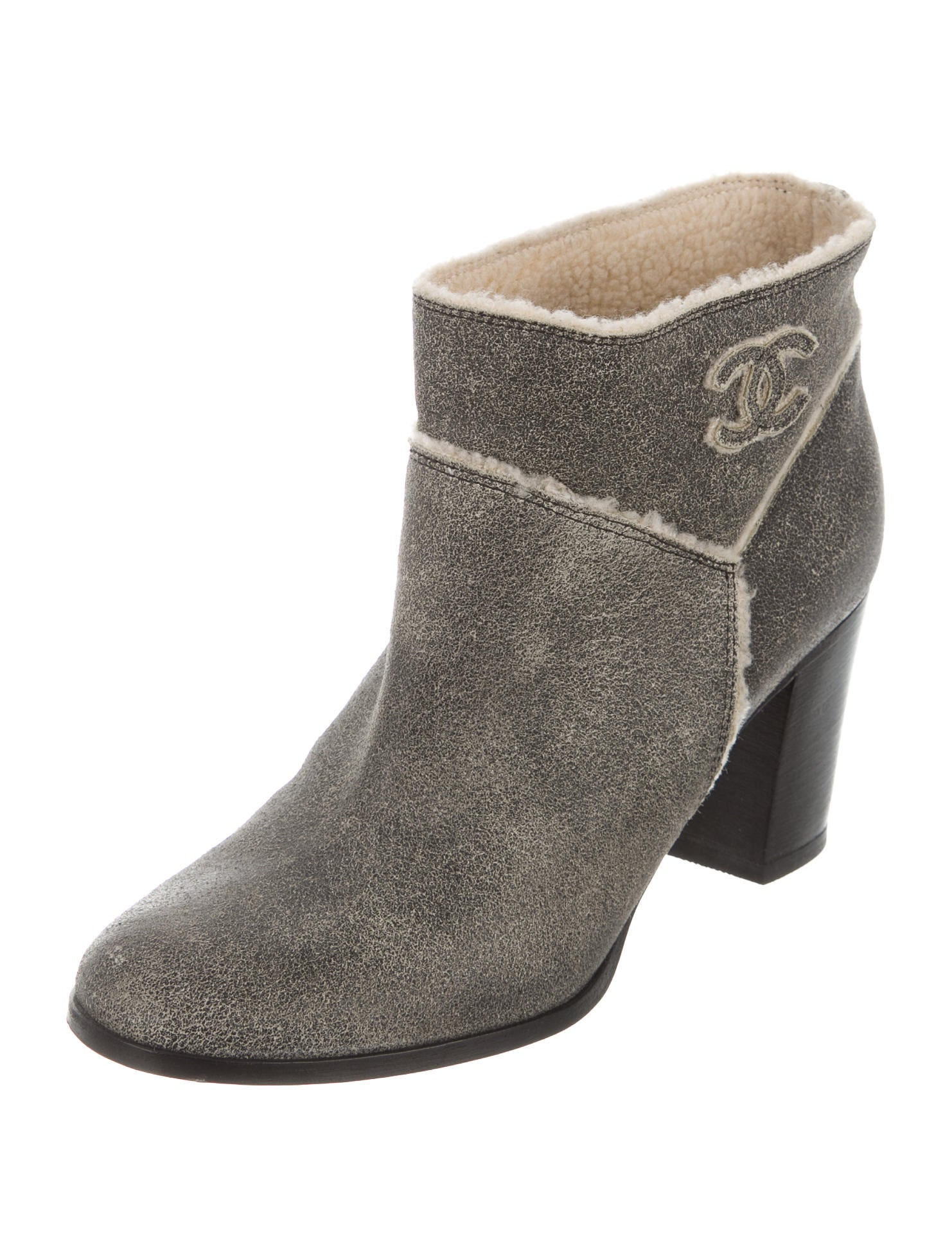chanel suede shearling trimmed ankle boots shoes
