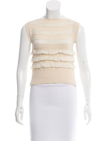 Chanel Ruffle-Trimmed Knit Top None