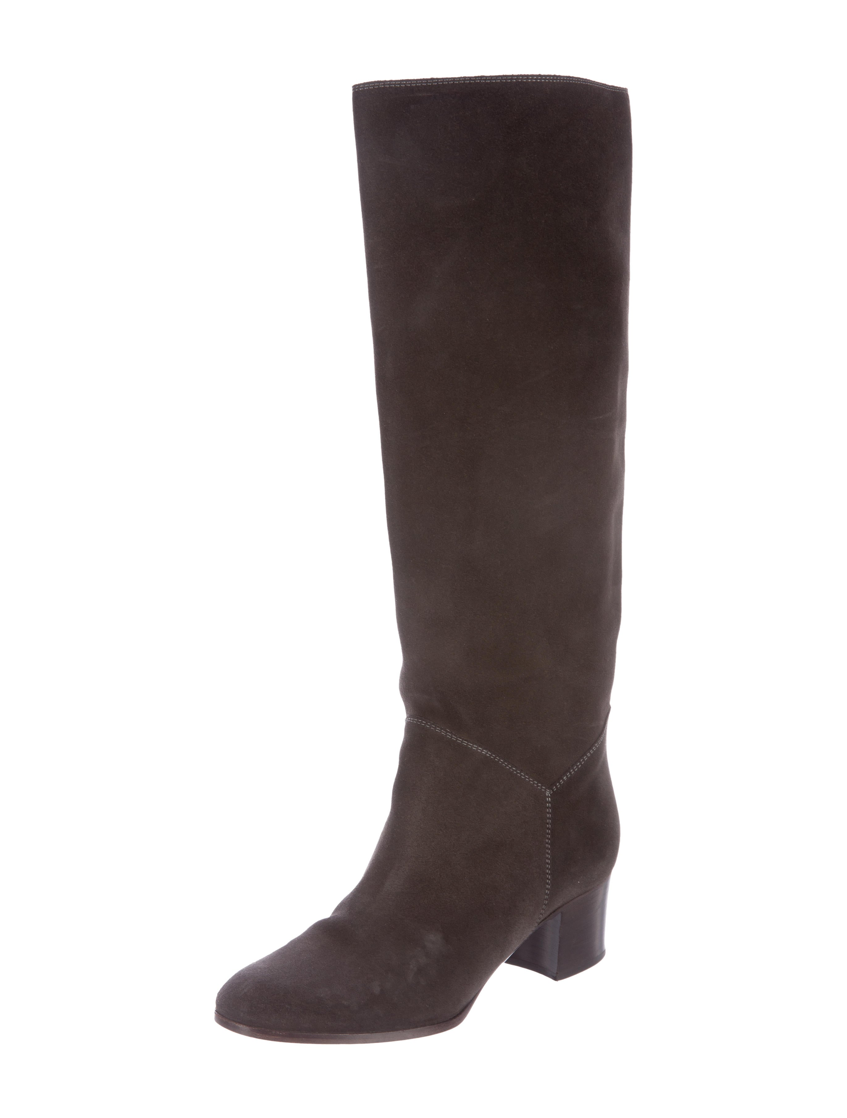 chanel suede knee high boots shoes cha156768 the