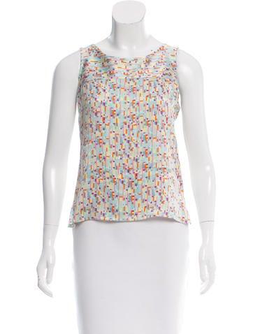 Chanel Coco Print Silk Top None
