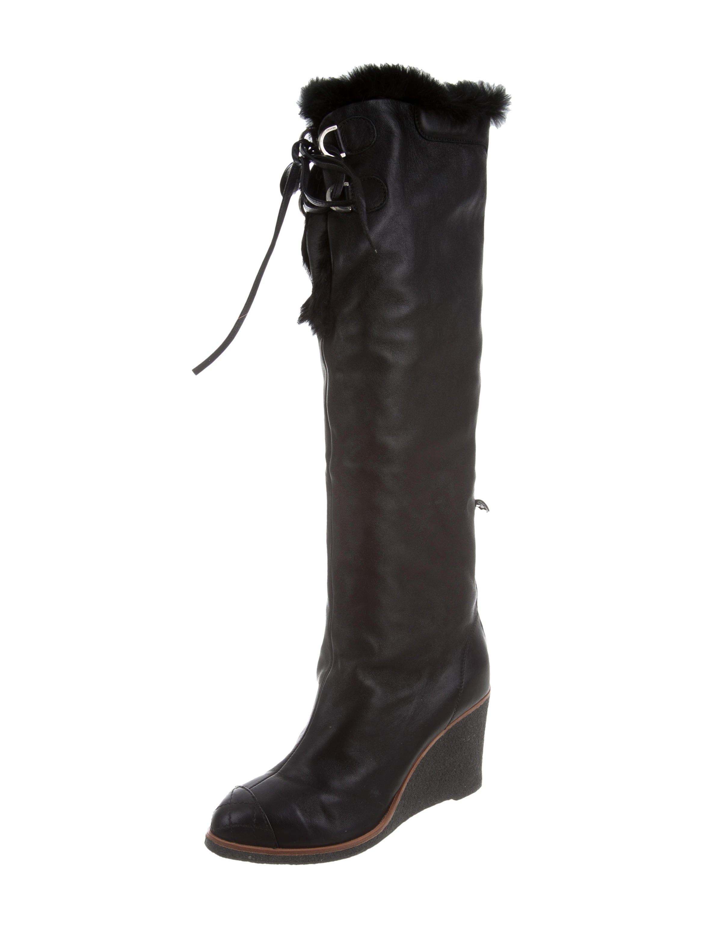 chanel fur trimmed wedge boots shoes cha157316 the