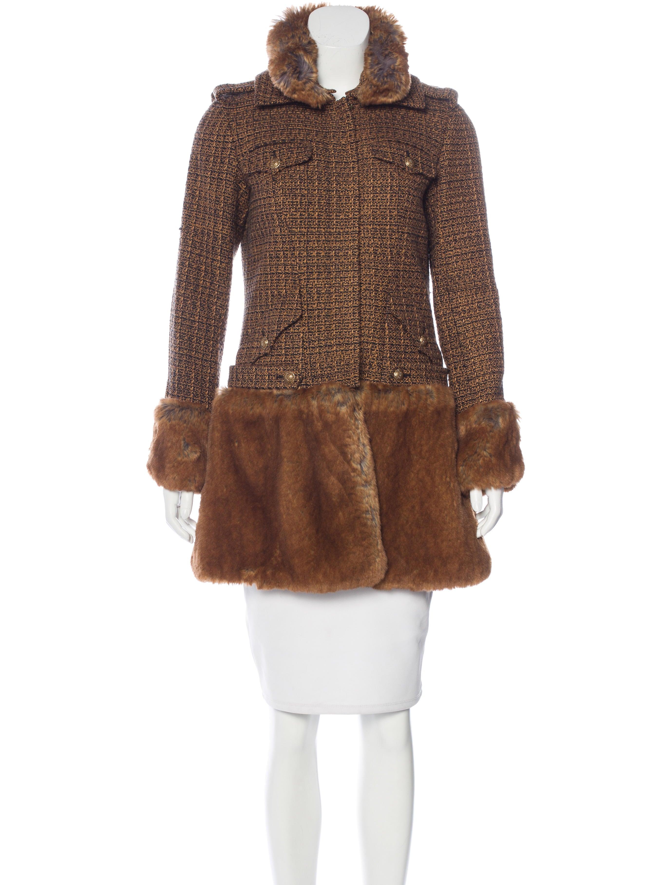 Chanel Tweed Fantasy Fur Coat Clothing Cha157692 The