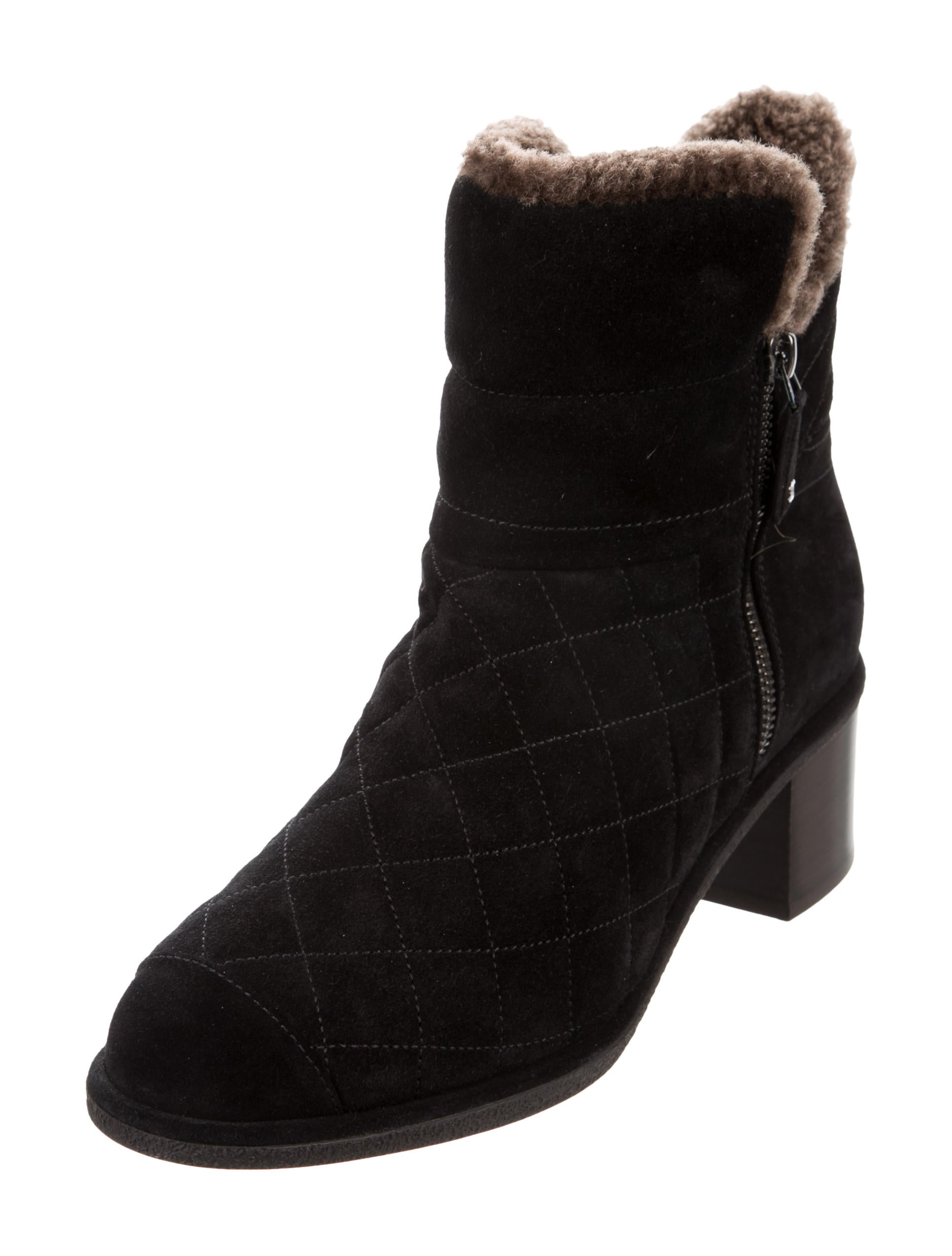 chanel quilted suede shearling lined ankle boots shoes
