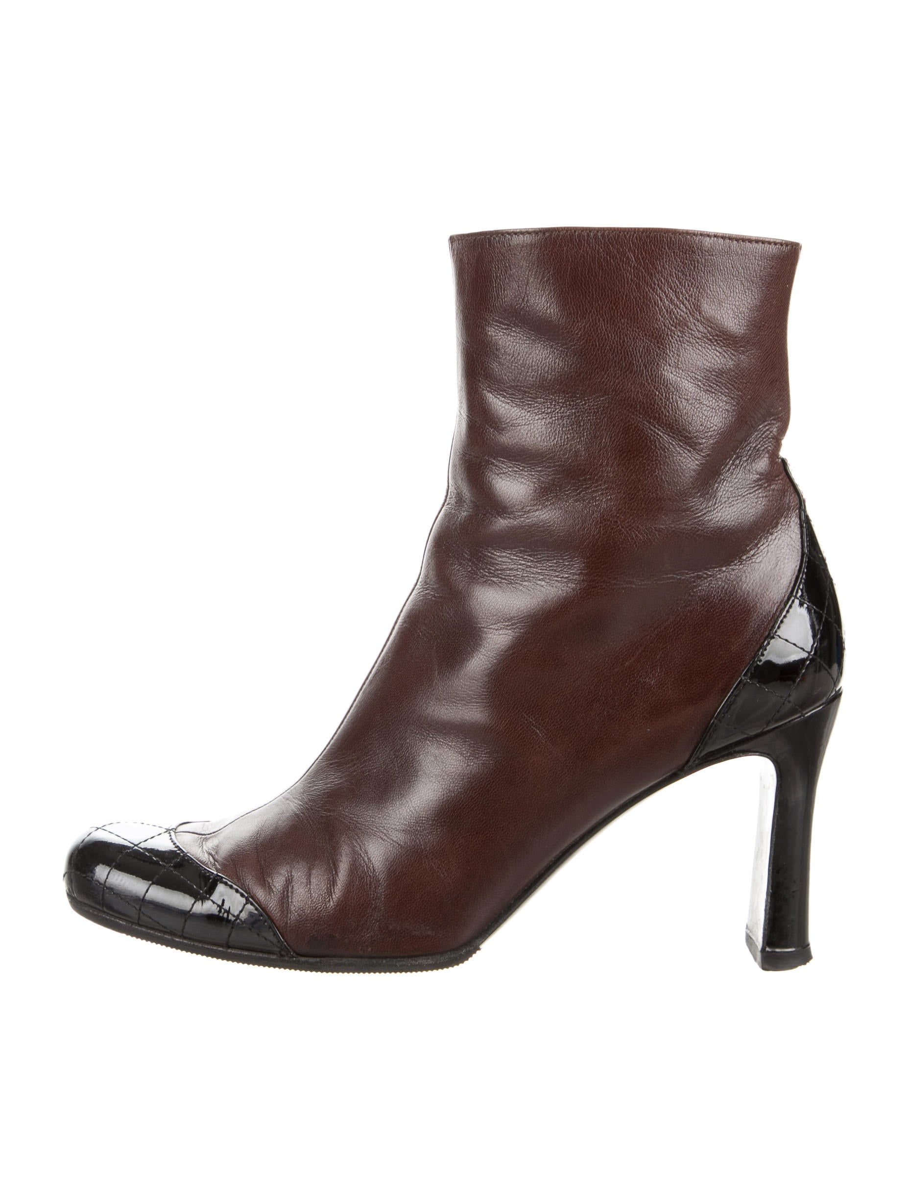 chanel quilted cap toe ankle boots shoes cha158078