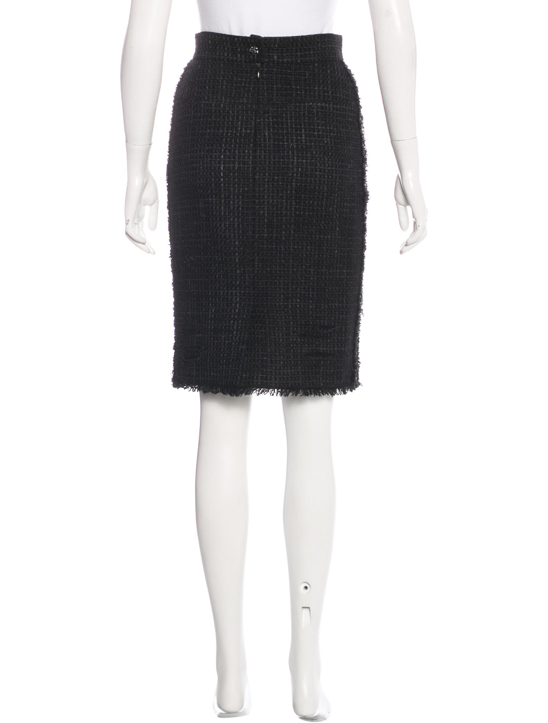 Chanel Distressed Tweed Skirt - Clothing - CHA158109   The RealReal