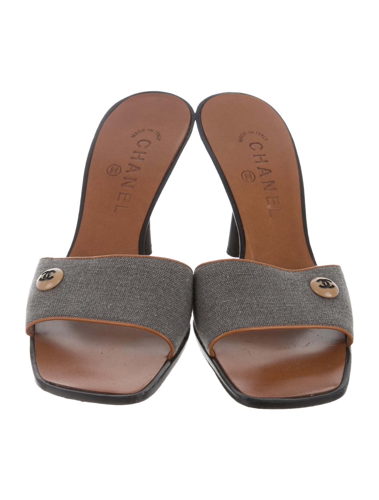 chanel canvas slide sandals shoes cha158161 the realreal