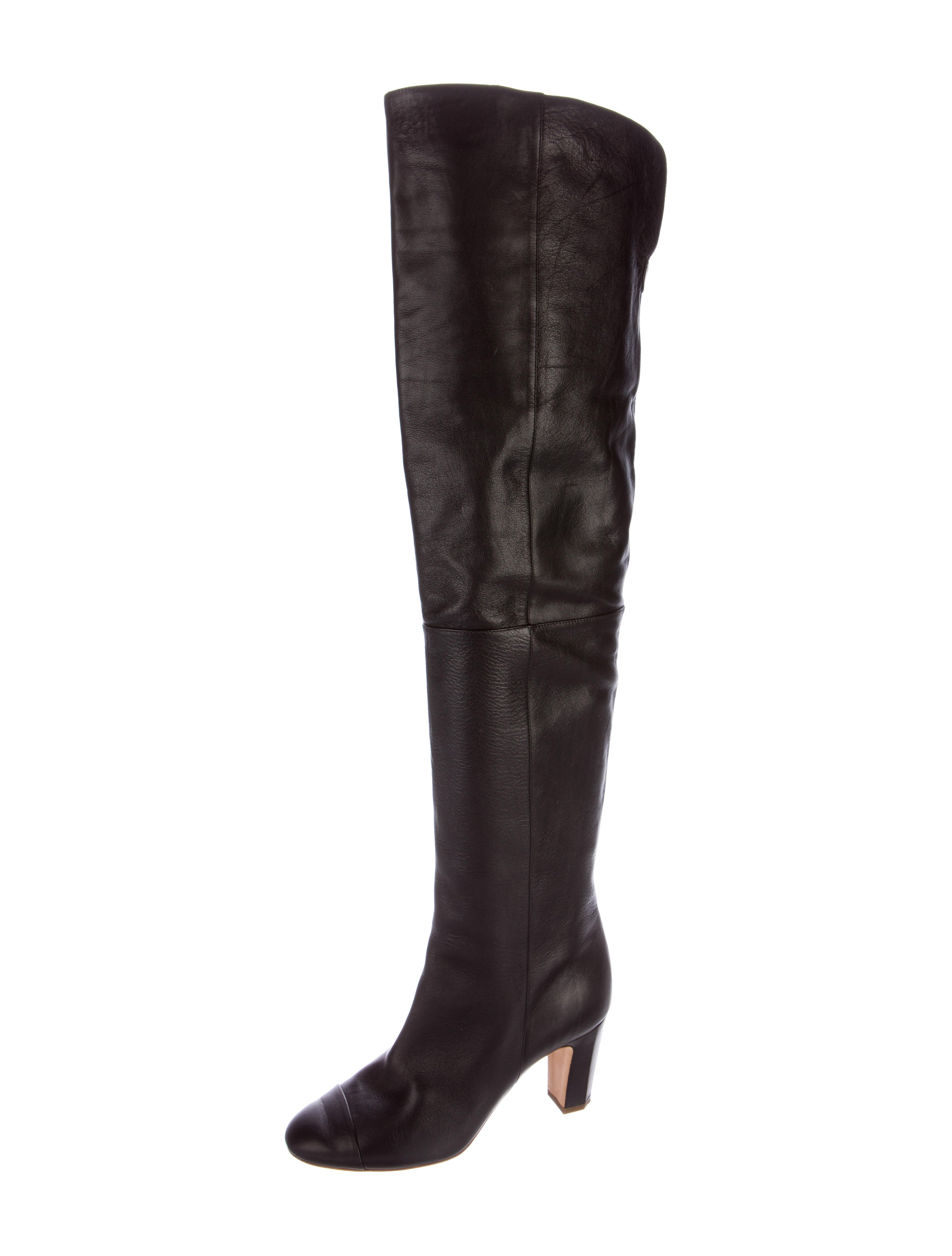chanel leather thigh high boots shoes cha158320 the