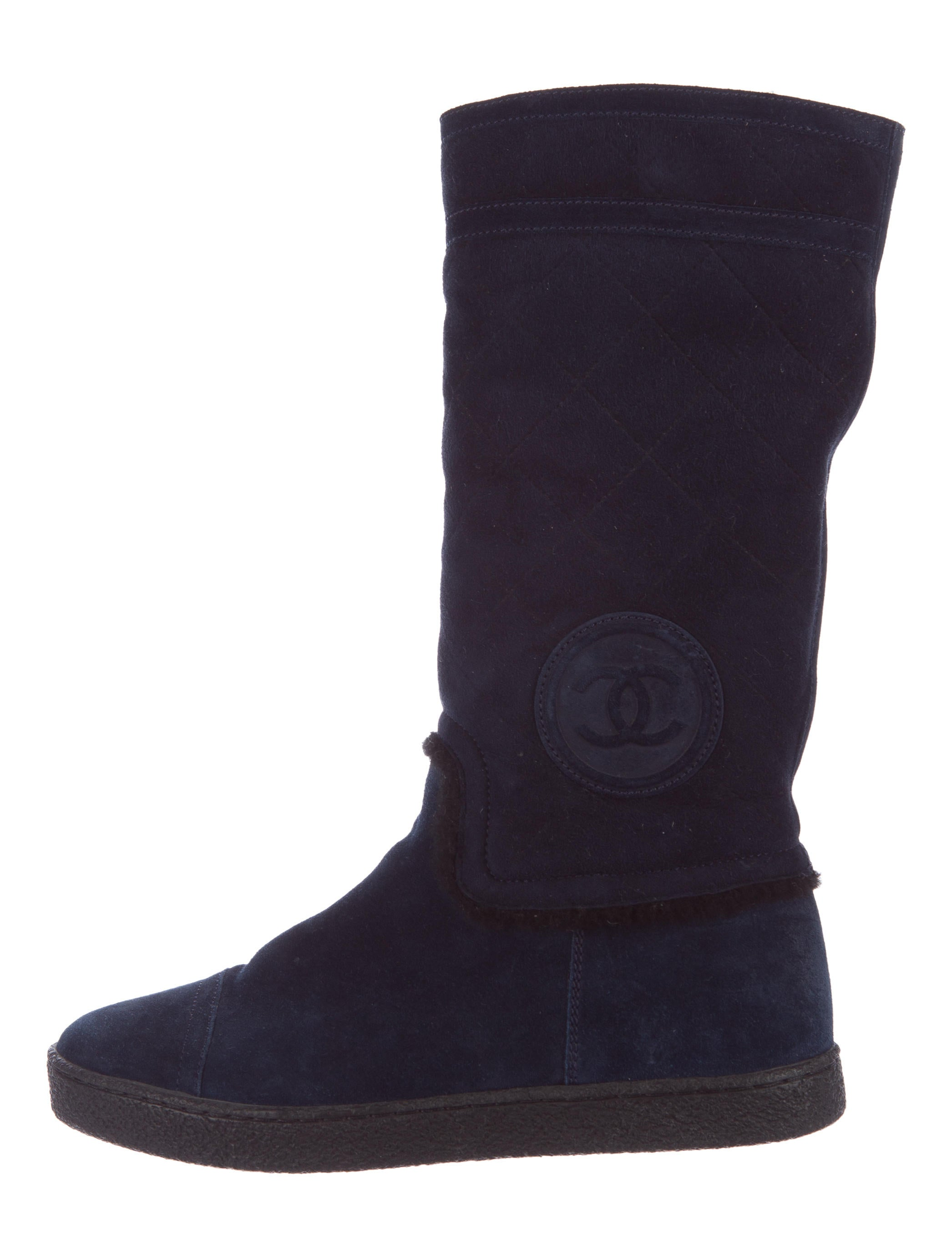 chanel suede cc boots shoes cha158386 the realreal