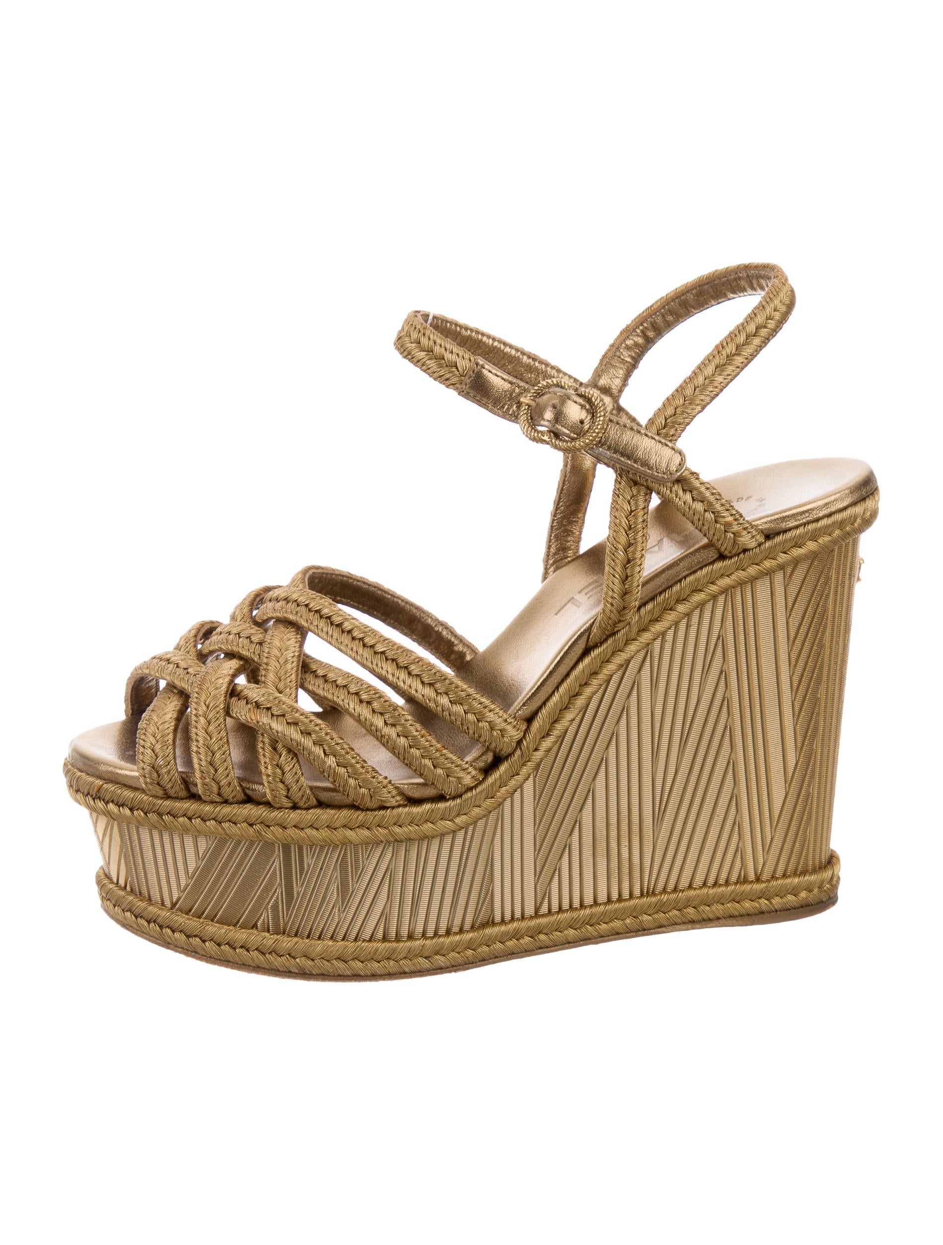 chanel metallic crossover wedges shoes cha158615 the