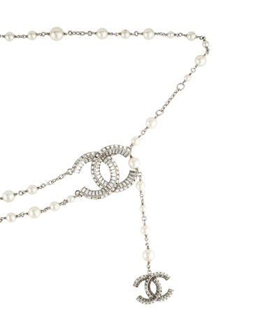 CC Crystal & Pearl Waist Belt
