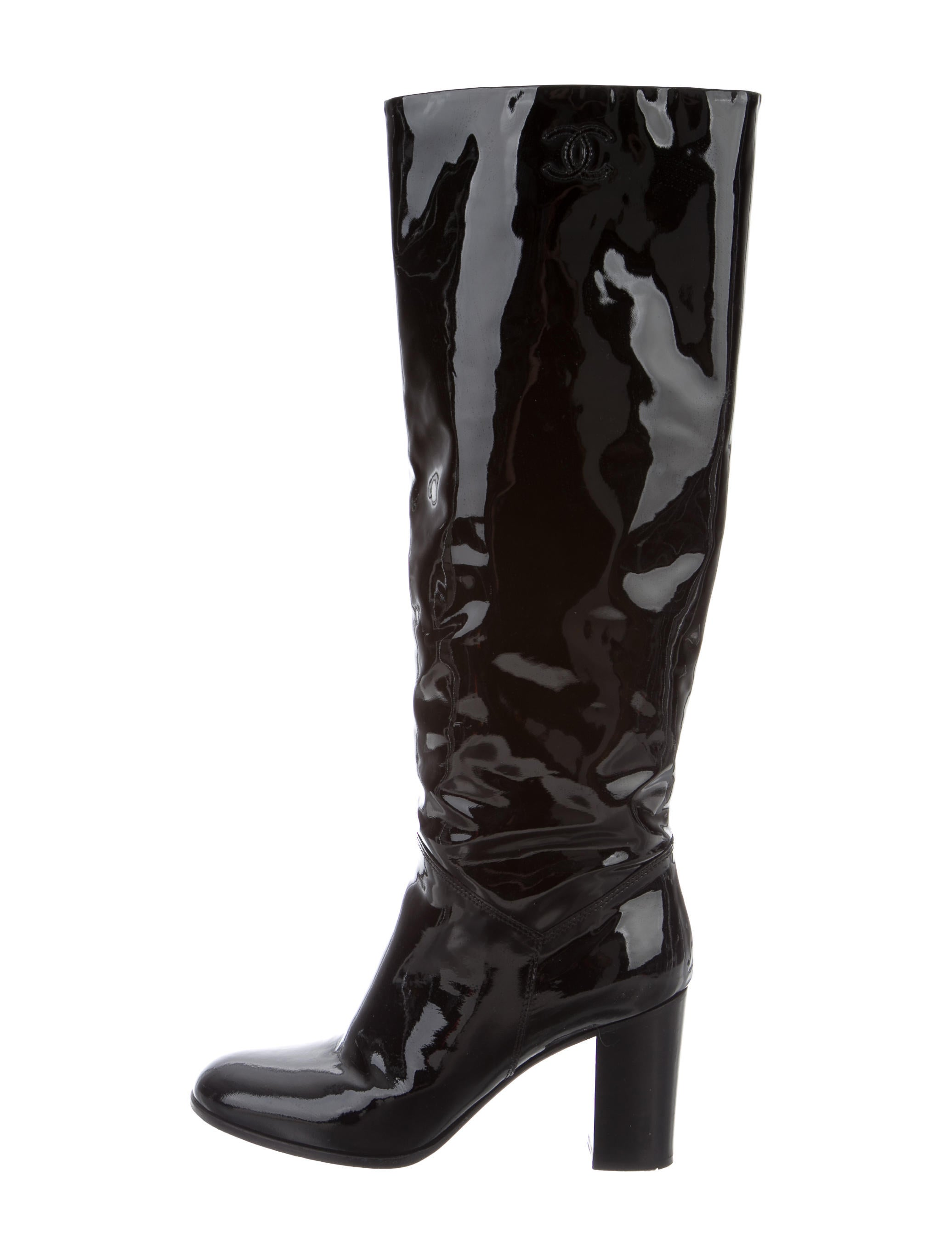 chanel patent leather knee high boots shoes cha159102