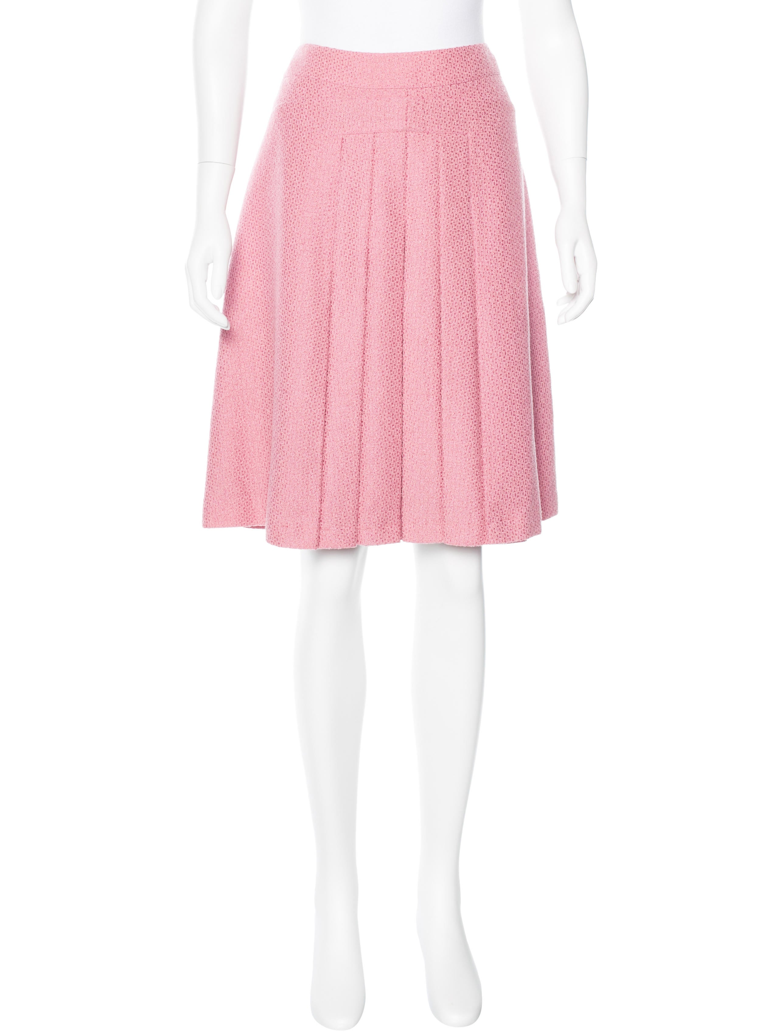 chanel pleated tweed skirt clothing cha159816 the