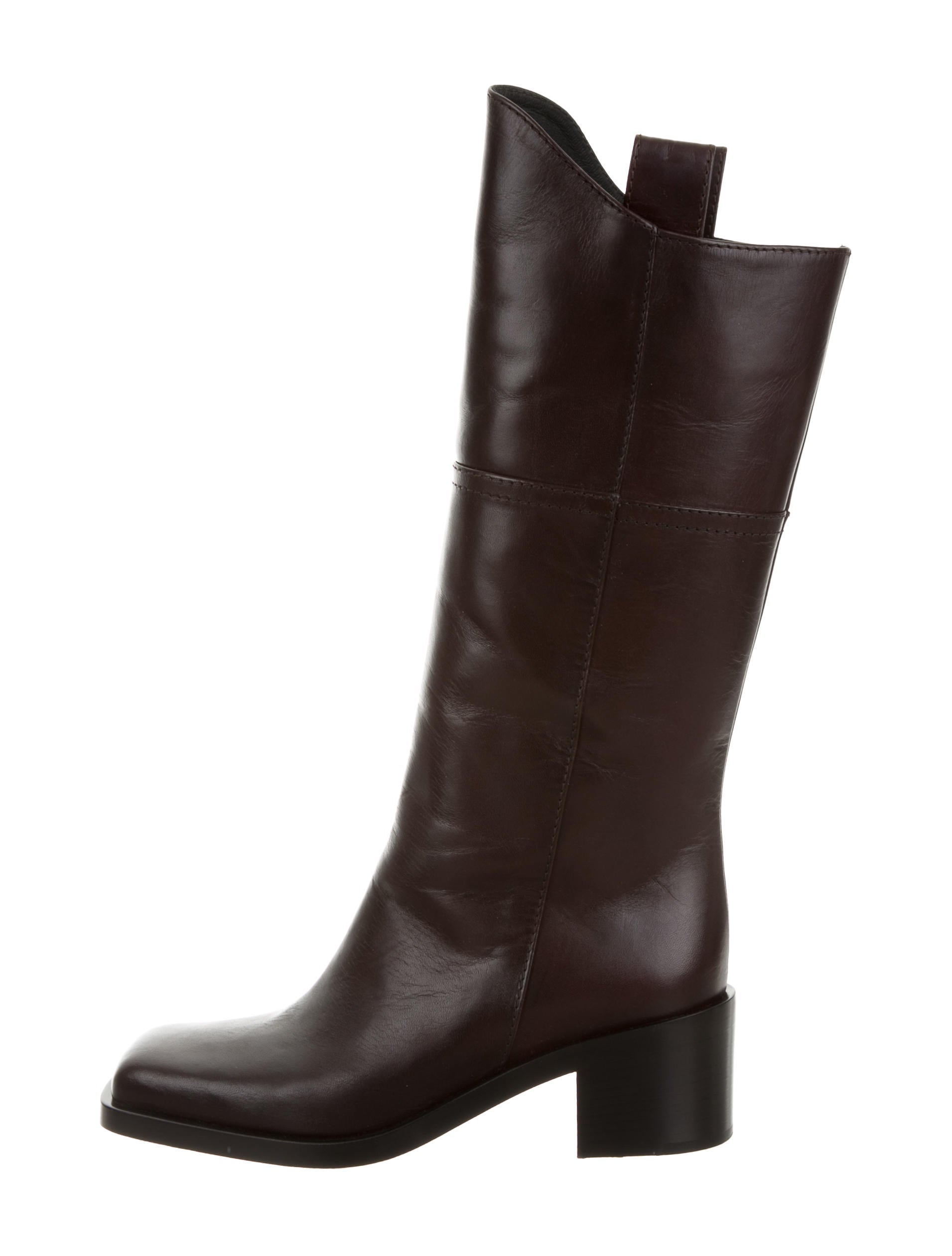chanel leather mid calf boots shoes cha160047 the
