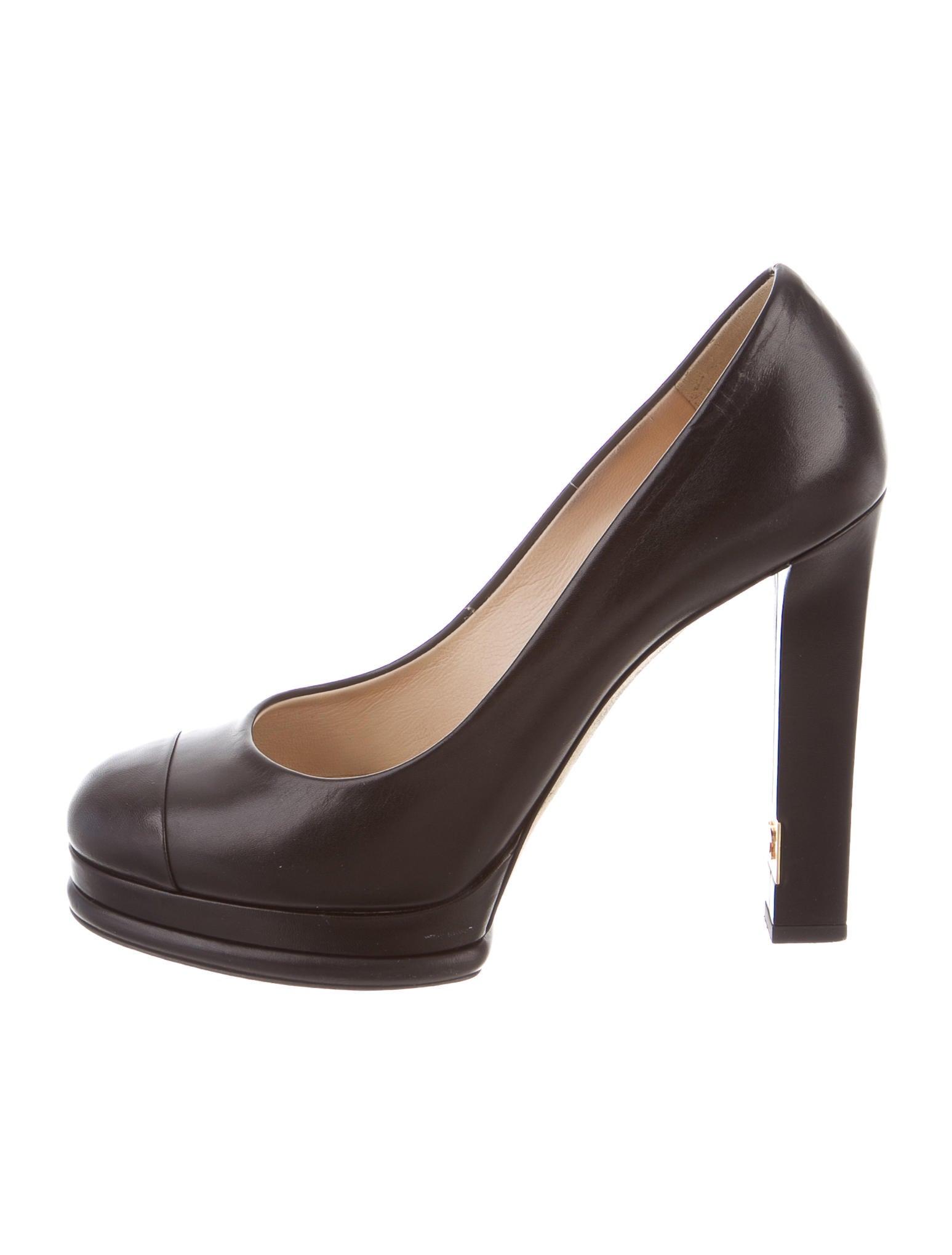 chanel leather platform pumps shoes cha160092 the