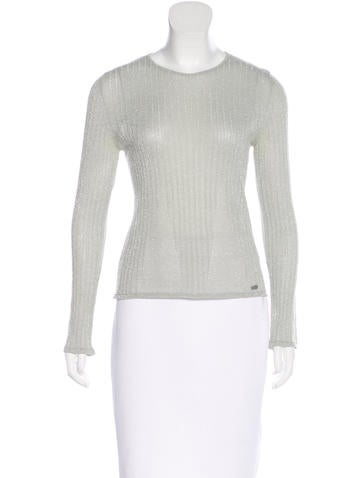 Chanel Rib Knit Crew Neck Top None