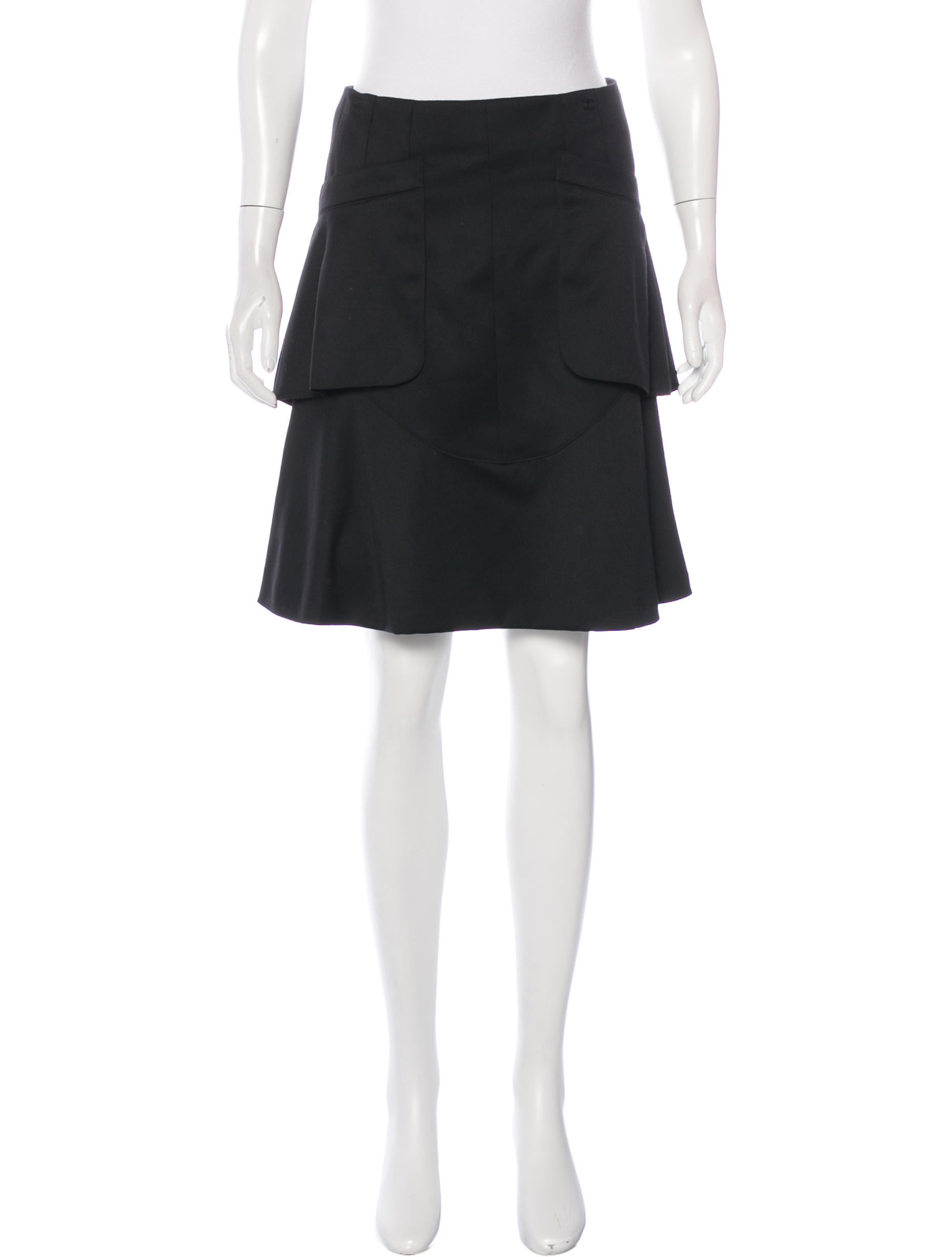 chanel wool a line skirt clothing cha160155 the realreal