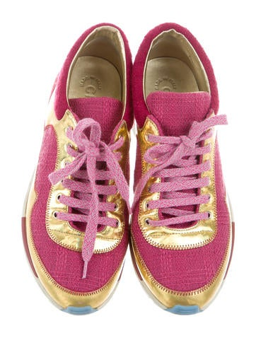 Iridescent-Accented Tweed Sneakers