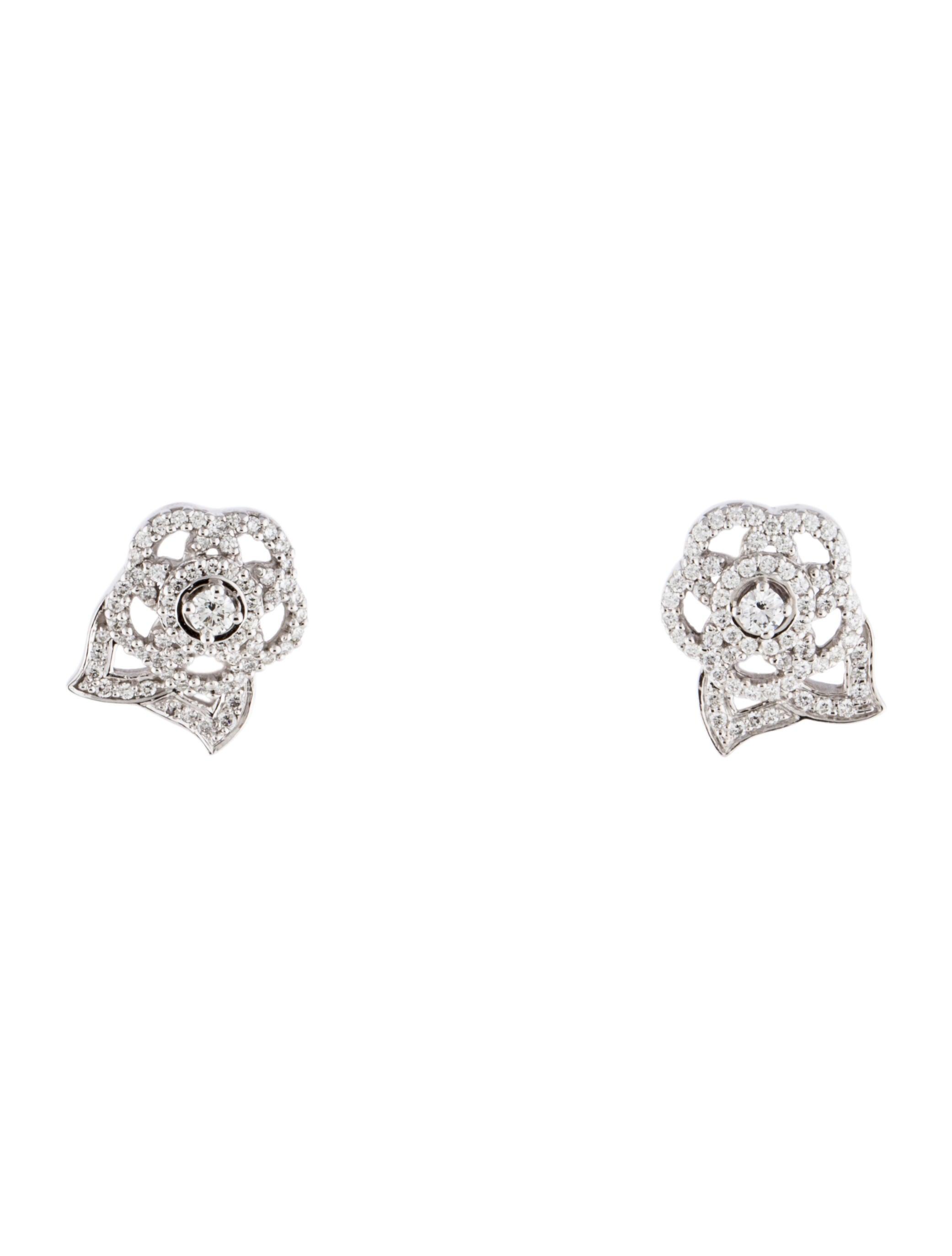 chanel diamond camellia earrings earrings cha160662