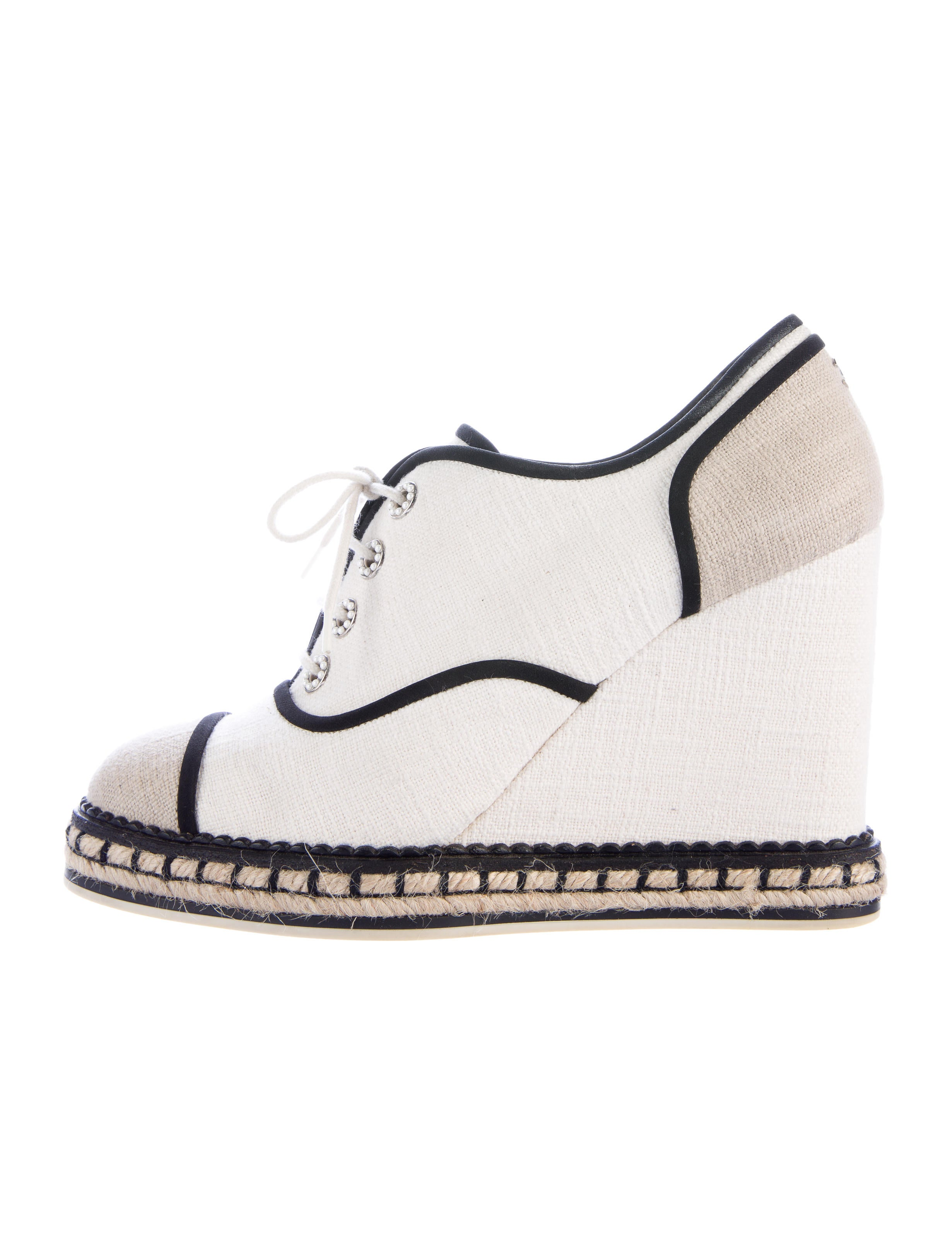 Chanel Canvas Wedge Lace Up Shoes For Sale