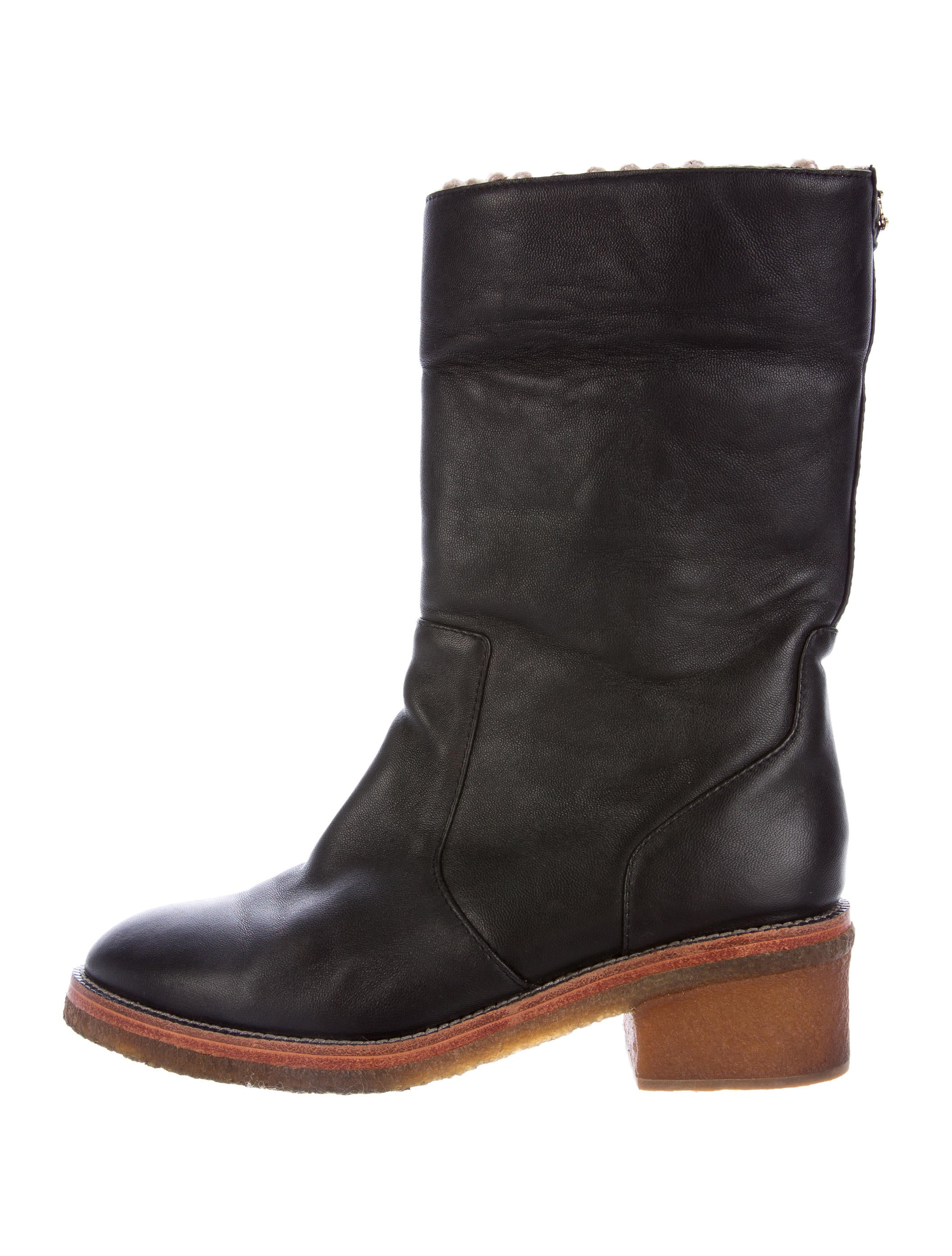 chanel leather mid calf boots shoes cha161492 the